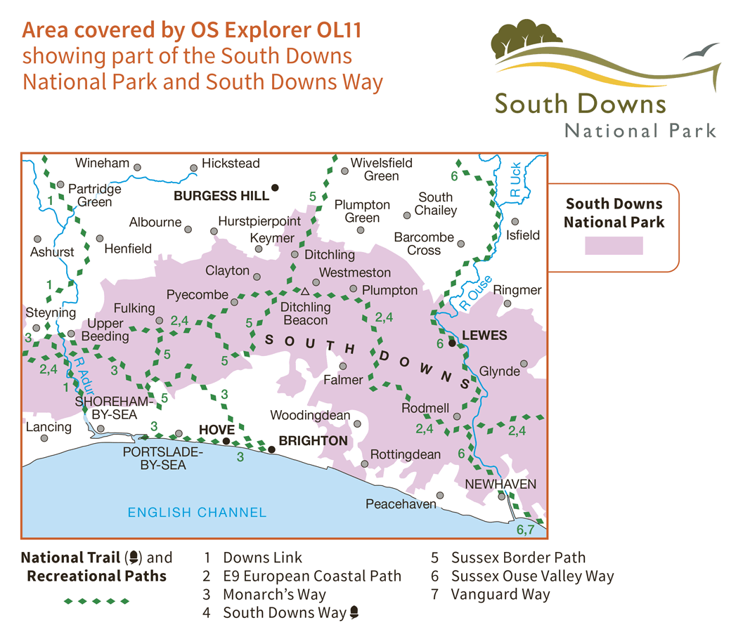 Ordnance Survey Explorer Active - OL 11 - Brighton and Hove