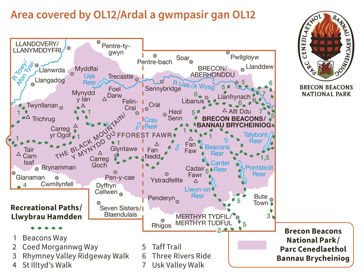 Ordnance Survey Explorer Active - OL 12 - Brecons West