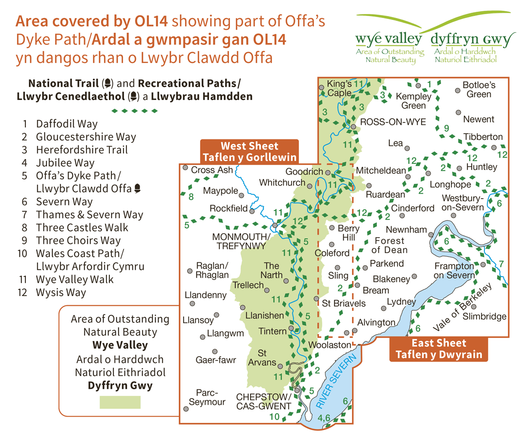Ordnance Survey Explorer Active - OL 14 - Wye Valley and Forest of Dean
