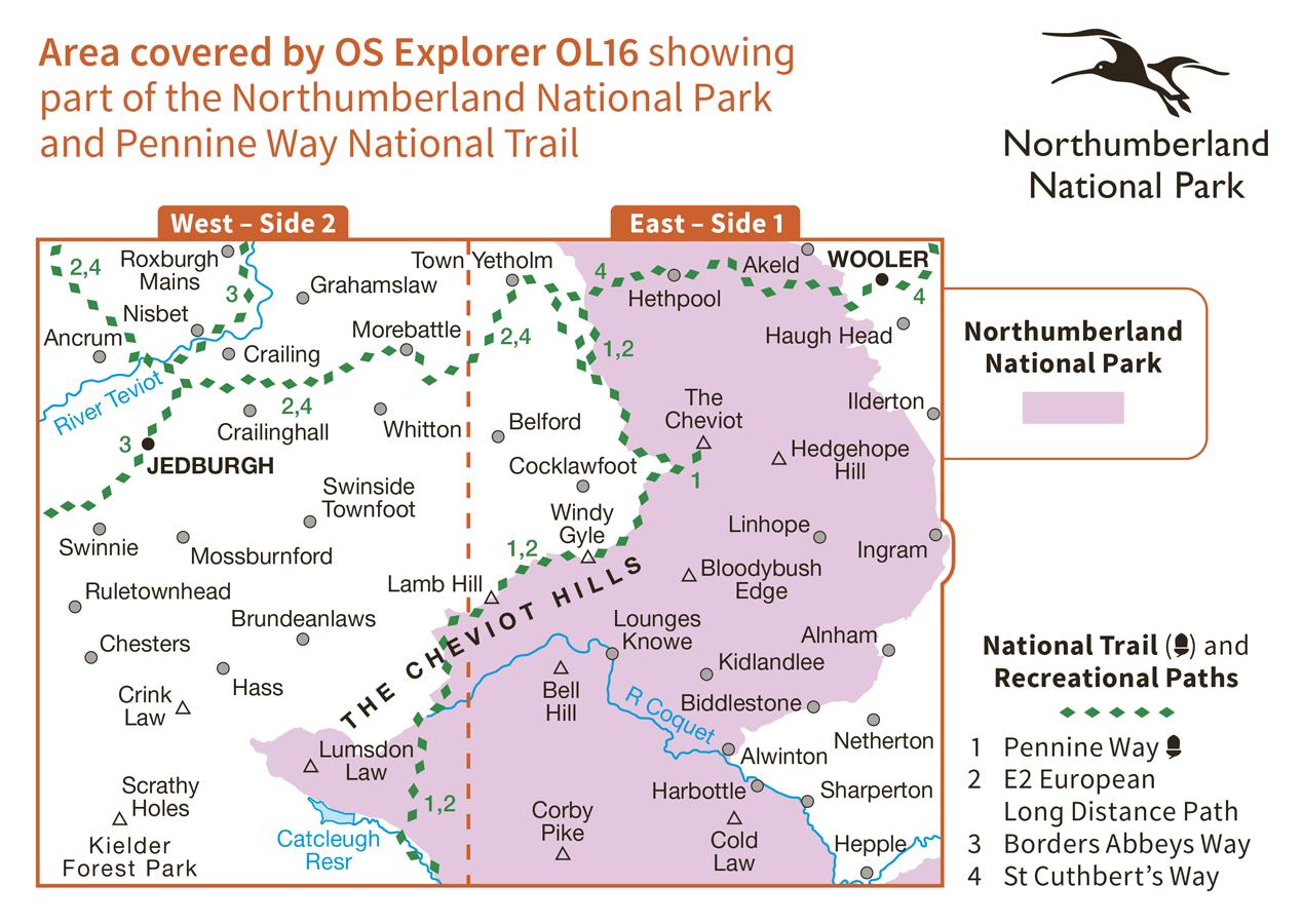Ordnance Survey Explorer Active - OL 16 - Cheviot Hills