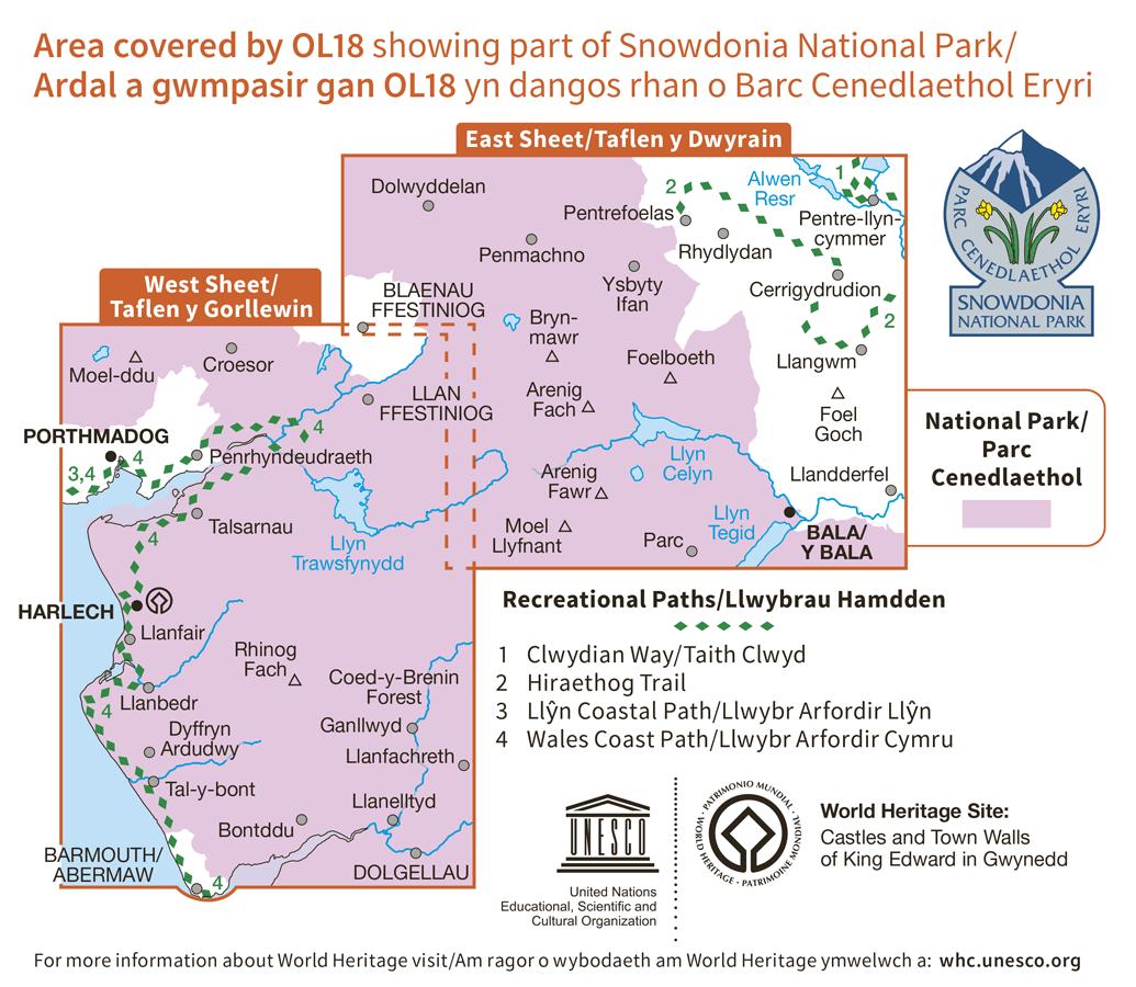Ordnance Survey Explorer - OL 18 - Harlech, Porthmadog and Y Bala