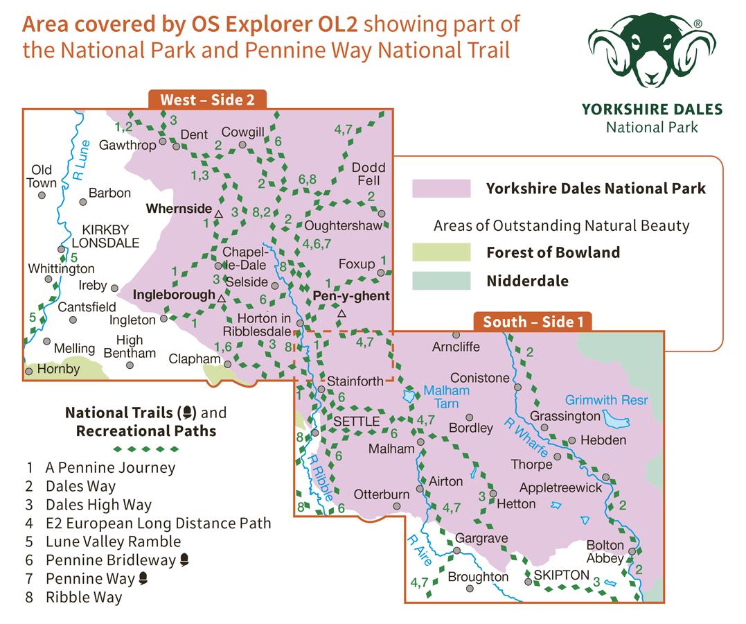 Ordnance Survey Explorer Active - OL 2 - Yorkshire Dales S and W