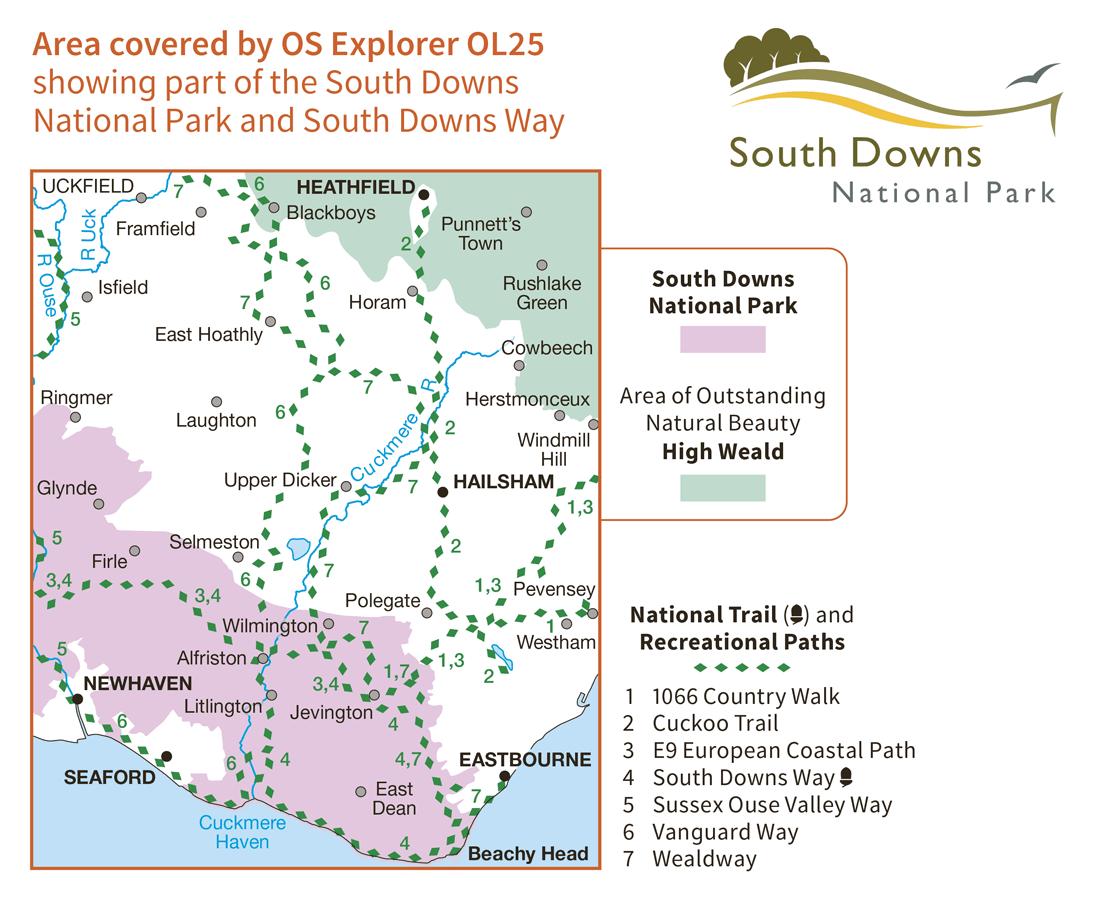 Ordnance Survey Explorer - OL 25 - Eastbourne and Beachy Head