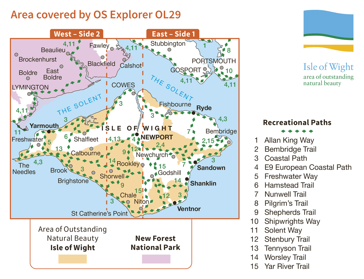 Ordnance Survey Explorer Active - OL 29 - Isle of Wight