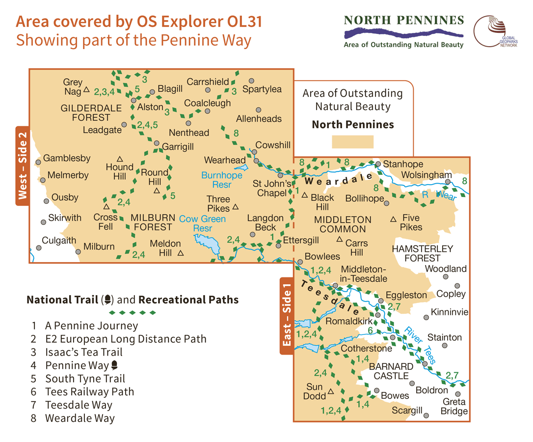 Ordnance Survey Explorer - OL 31 - North Pennines
