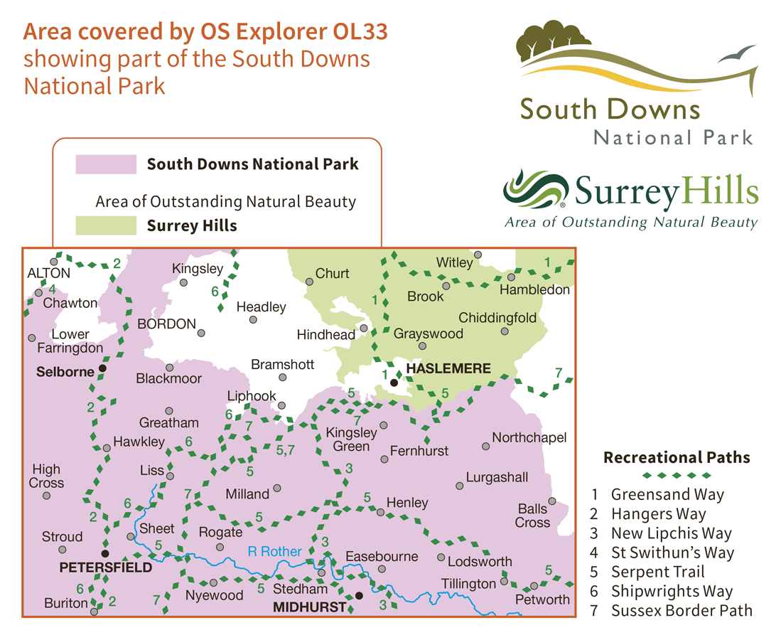 Ordnance Survey Explorer Active - OL 33 - Haslemere and Petersfield