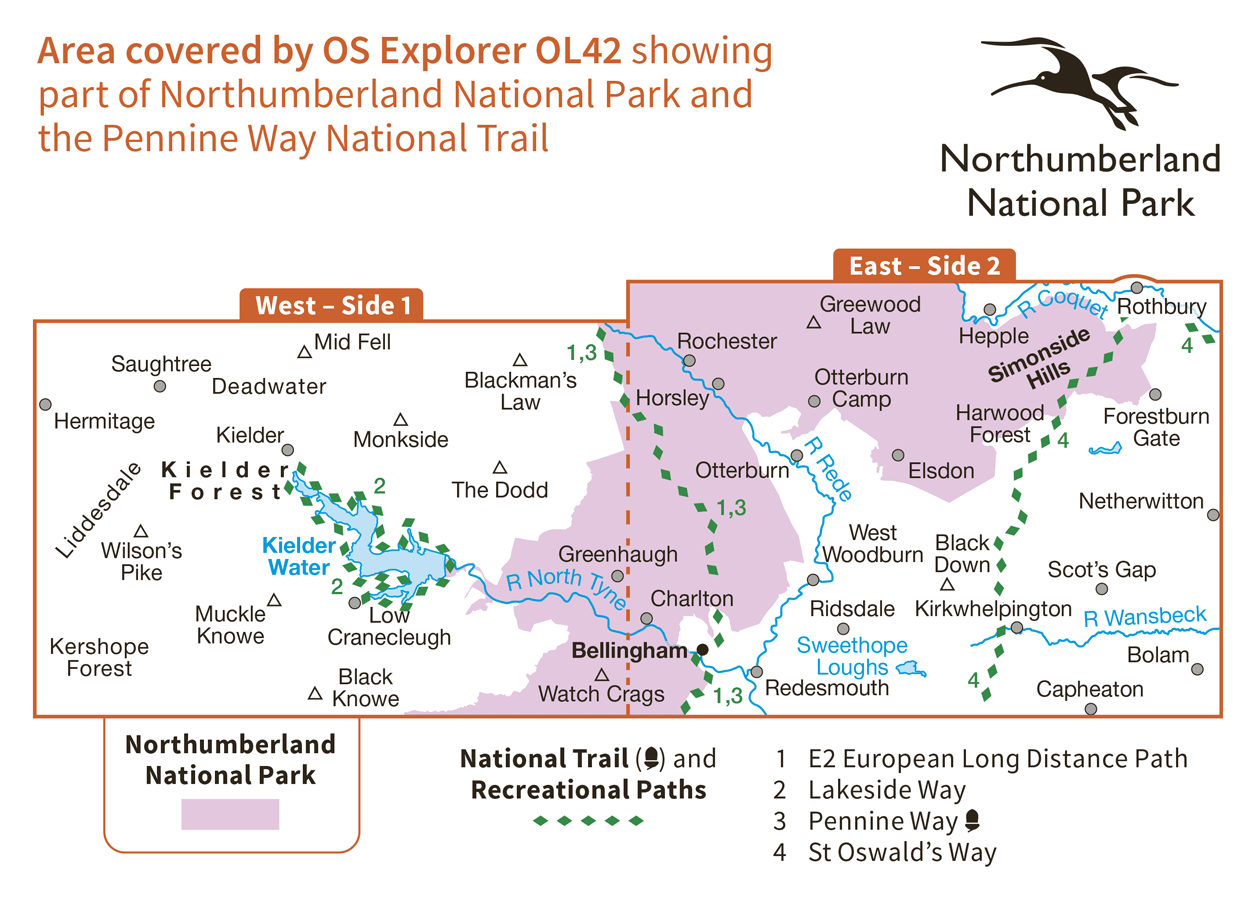Ordnance Survey Explorer Active - OL 42 - Kielder Water and Forest