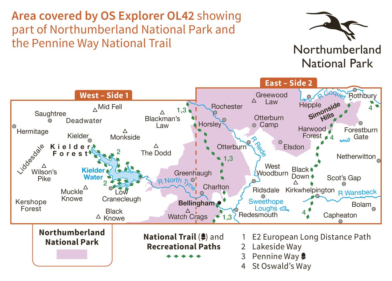 Ordnance Survey Explorer - OL 42 - Kielder Water and Forest