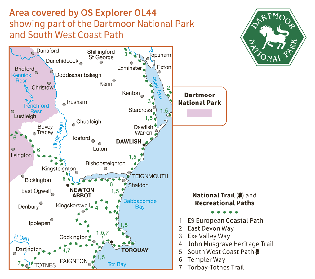 Ordnance Survey Explorer Active - OL 44 - Torquay and Dawlish