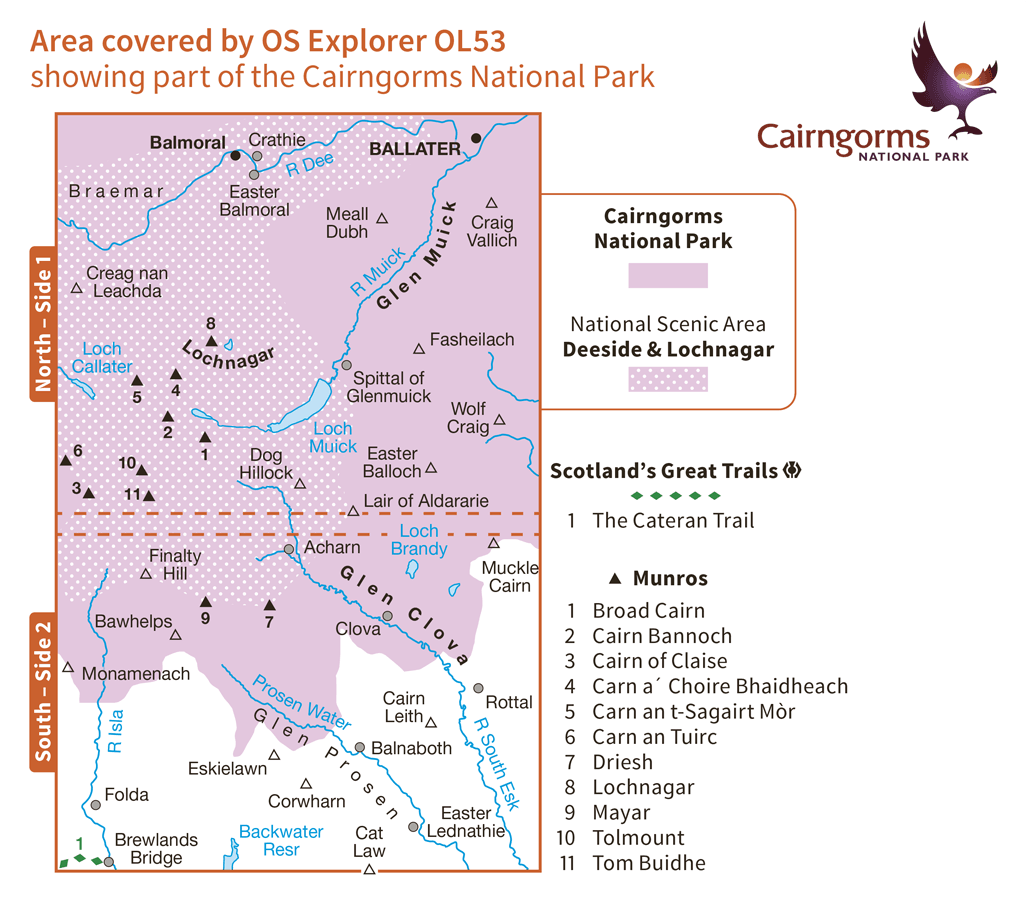 Ordnance Survey Explorer Active - OL 53 - Lochnagar, Glen Muick and Glen Cova