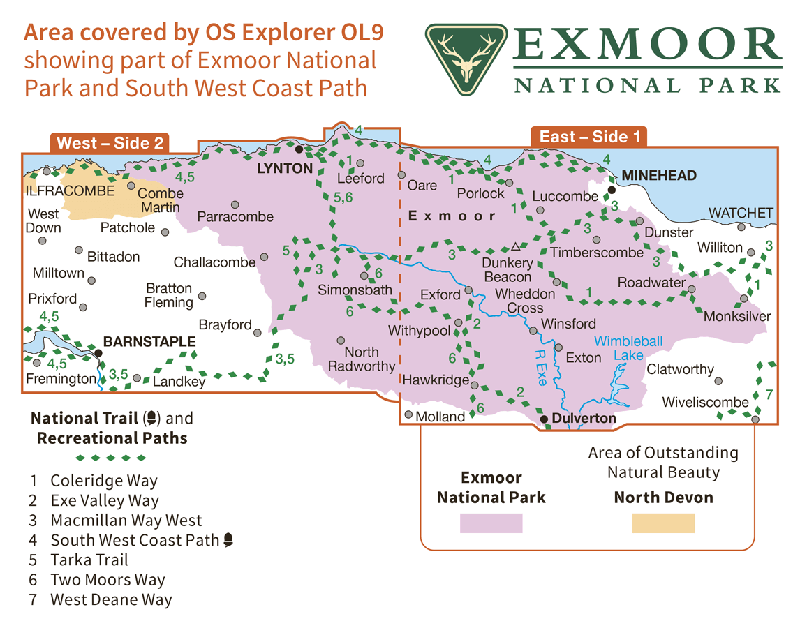 Ordnance Survey Explorer Active - OL 9 - Exmoor