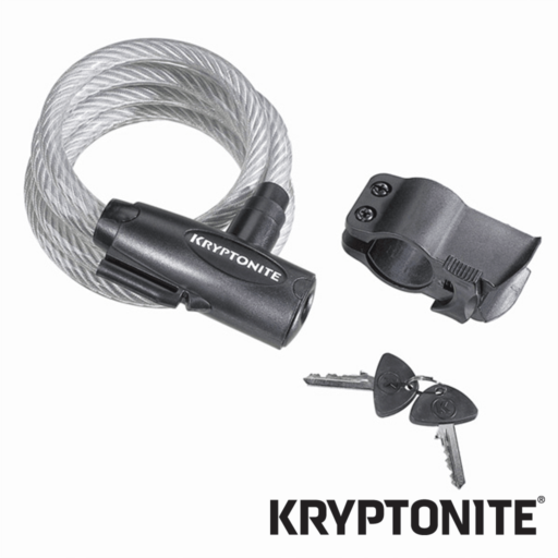 Kryptonite Keeper 1018 Key Cable – Coiled – with Bracket – 180 cm