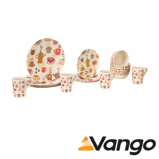Vango Bamboo 4 Person Bamboo Set – Coffee Cup Print