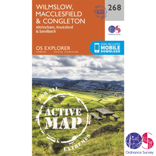 Ordnance Survey Explorer Active – 268 – Wilmslow, Macclesfield and Congleton