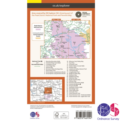 Ordnance Survey Explorer Active – OL 1 – Peaks – Dark Peak