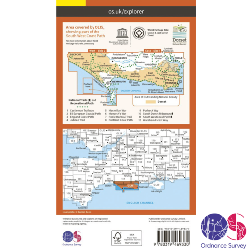 Ordnance Survey Explorer Active – OL 15 – Purbeck and South Dorset
