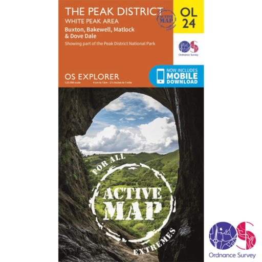 Ordnance Survey Explorer Active – OL 24 – Peaks – White Peak