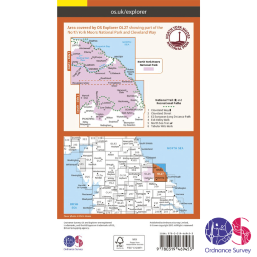 Ordnance Survey Explorer Active – OL 27 – North York Moors E