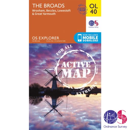 Ordnance Survey Explorer Active – OL 40 – The Broads