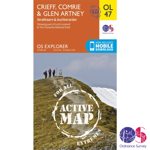 Ordnance Survey Explorer Active – OL 47 – Crieff, Comrie and Glen Artney