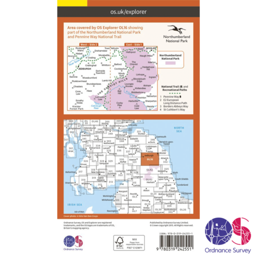 Ordnance Survey Explorer – OL 16 – Cheviot Hills