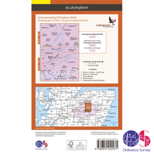 Ordnance Survey Explorer – OL 58 – Braemar, Tomintoul and Glen Avon