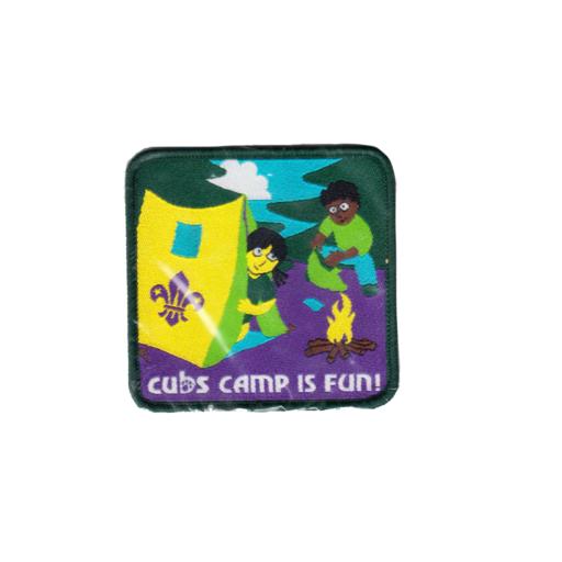 """Cubs """"Camp Is Fun"""" Fun Badge"""