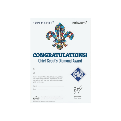 Network / Explorers Chief Scout's Diamond Award Certificates  – 10 Pack