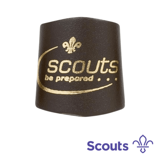 Gold Print Leather Scout Woggle