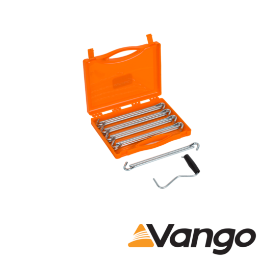 Vango Anchor Steel Peg Set with Extractor and Storage Case – 23 cm – Pack of 20