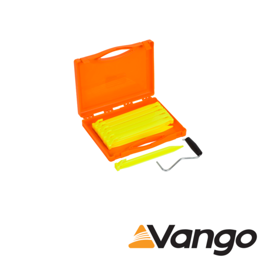 Vango Bolt Plastic Peg Set with Extractor and Storage Case – 22 cm – Pack of 12