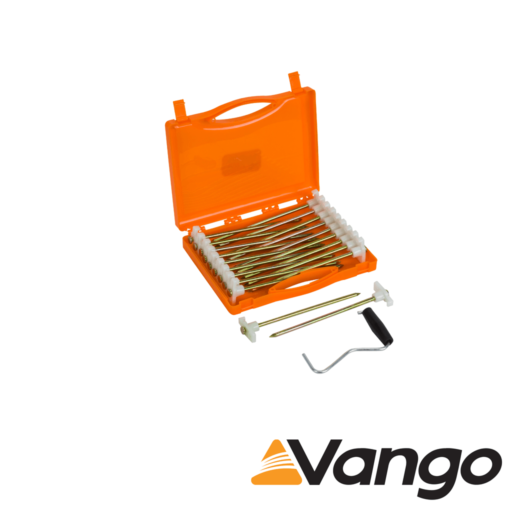 Vango Groundbreaker Glow Peg Set with Extractor and Storage Case – 20.5 cm x 6.5 mm – Pack of 20