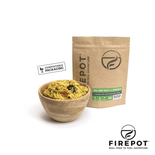 Firepot Dal and Rice with Spinach – Compostable Bag – Extra Large Serving