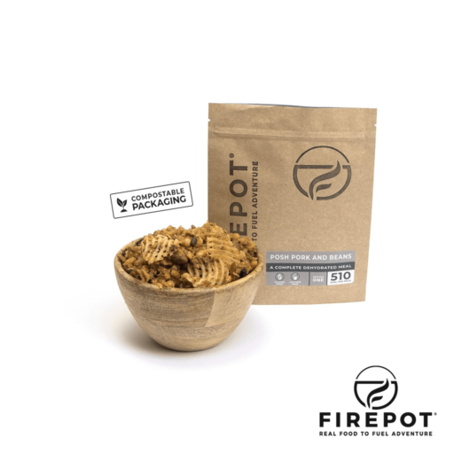 Firepot Posh Pork and Beans – Compostable Bag – Extra Large Serving
