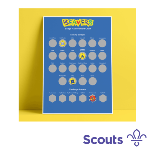 Beavers A3 Scratch Off Badge Achievement Poster Scouting Gift
