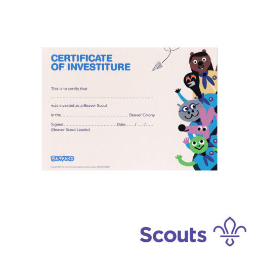 Beavers Investiture Certificates  – 10 Pack