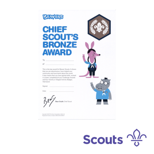 Beavers Chief Scout's Bronze Award Certificates  – 10 Pack