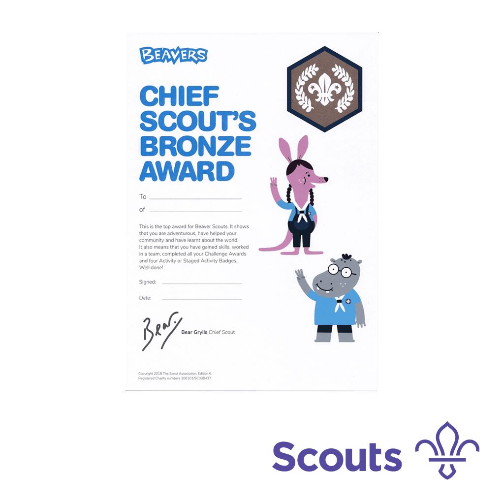 Beavers Chief Scout's Bronze Award Certificates