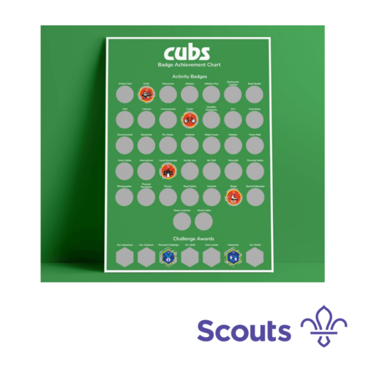 Cubs A3 Scratch Off Badge Achievement Poster Scouting Gift