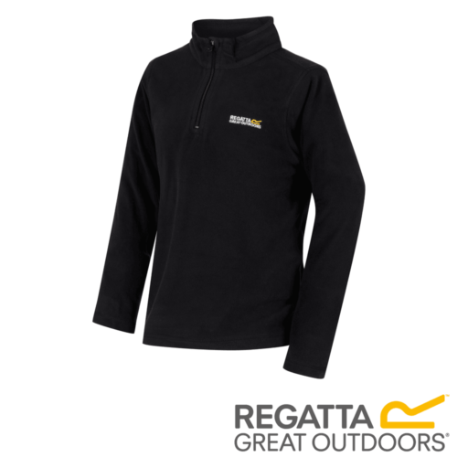 Regatta Kid's Hot Shot II Lightweight Half Zip Fleece – Black / Black