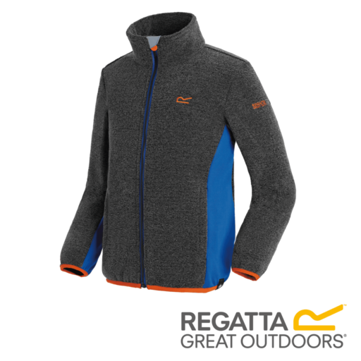 Regatta Kid's Ascendo Full Zip Fleece – Black / Oxford Blue