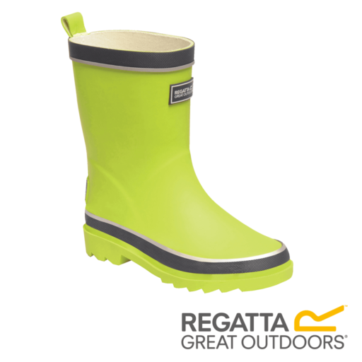 Regatta Kid's Foxfire Reflective Wellingtons – Lime Punch / Navy