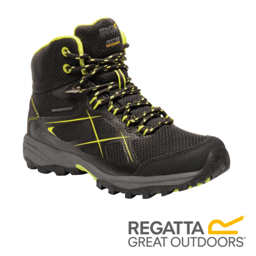Regatta Kid's Kota Walking Boots – Black / Lime Punch