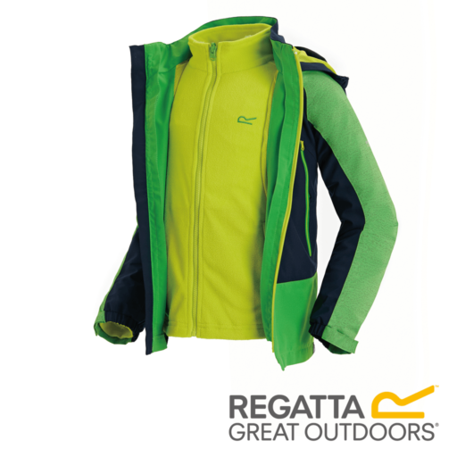 Regatta Kid's Hydrate III Waterproof 3-In-1 Jacket – Fairway Green Reflective / Navy