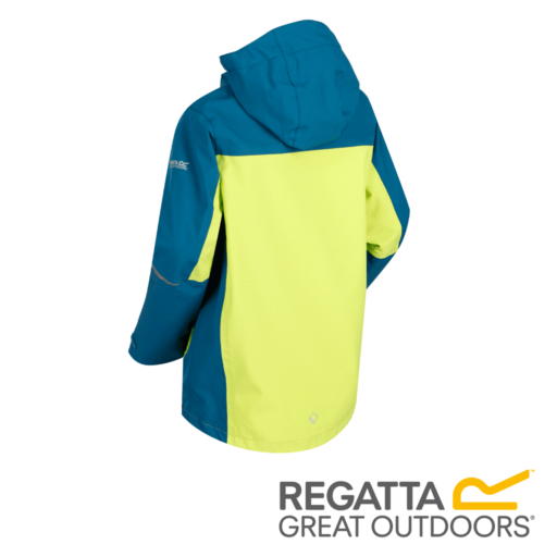 Regatta Kid's Hipoint Stretch IV Lightweight Hooded Waterproof Jacket – Sea Blue / Lime Punch