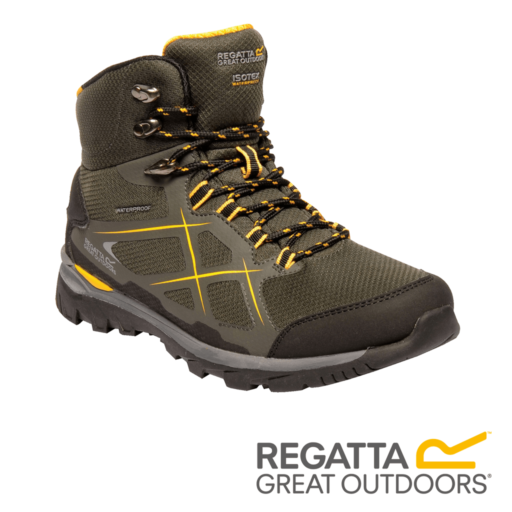 Regatta Men's Kota Mid Walking Boots – Dark Khaki / Gold