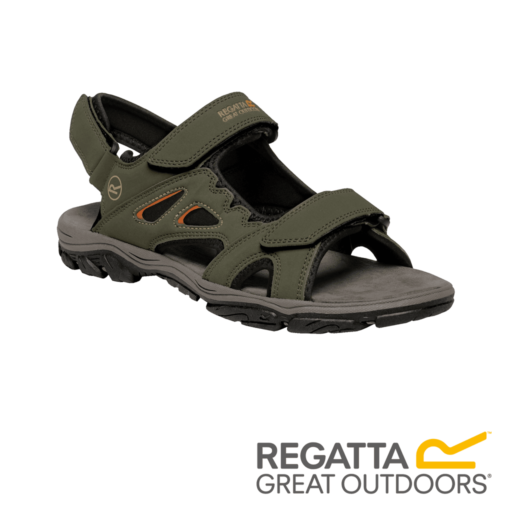 Regatta Men's Holcombe Vent Sandals  – Dark Khaki / Gold Flame