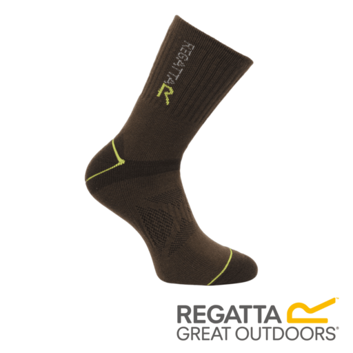Regatta Men's Two Layer Blister Protection Socks – Clove / Oasis Green