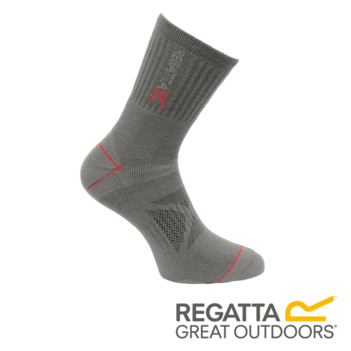 Regatta Men's Two Layer Blister Protection Socks – Granite / Senator Red