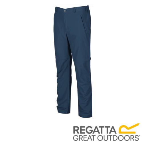 Regatta Men's Leesville Multi Pocket Zip Off Trousers – Long – Dark Denim